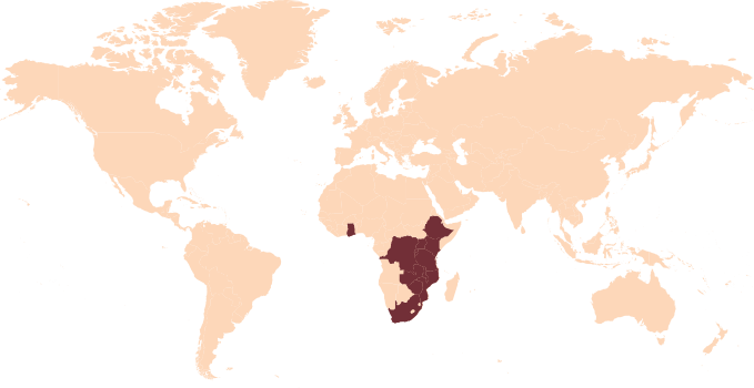 Worldmap With Africa Region Highlighted